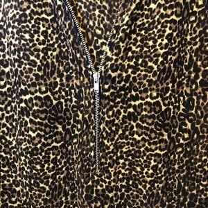 The Kooples Tops - The Kooples Silk Leopard Half Zip Tank